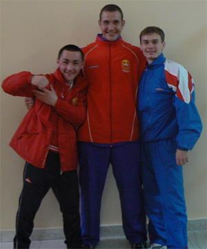 russian kettlebell lifters Valentin Egorov, Ivan Denisov, Djonny Benidze